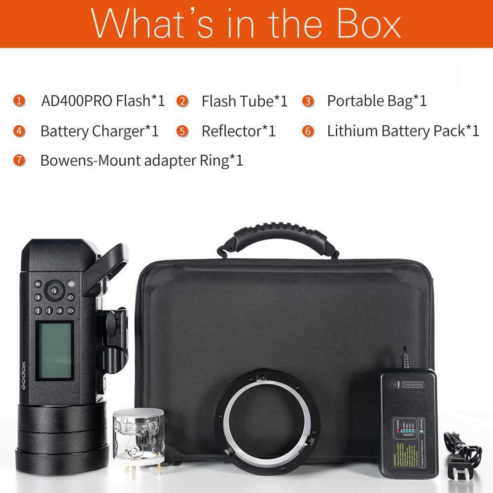 In stock!! Godox AD400Pro TTL HSS Flash Built-in 2 4G Wireless X System  Li-on Battery Outdoor Flash with Godox Xpro Transmitter
