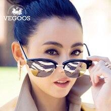 Vegoos бренд Дизайн стильный круглый кошачий глаз одежда Полуободковые Солнцезащитные очки для женщин Для женщин зеркало линзы очки для Для женщин винтажные #9063
