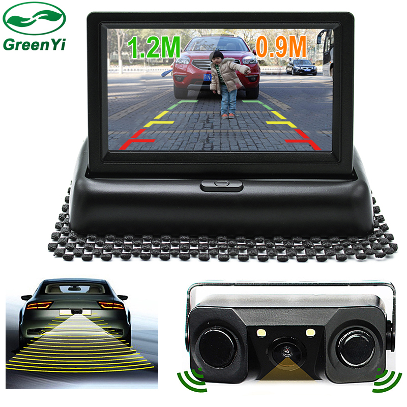 GreenYi Auto Video Parking Sensor With Rear View Camera 4 3 TFT Screen Car Parking Monitor