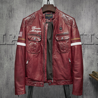 Dark Red Top Quality Men's Leather Jacket American Flag Embroidery Men Short Style Sheepskin Coat Casual Motorcycle Jacket