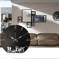 Creative 16 Inch 3D Metal Brief Living Wall Clock Modern Design Bedroom Silent Quartz Wall Watch Home Decoration Wall Sticker