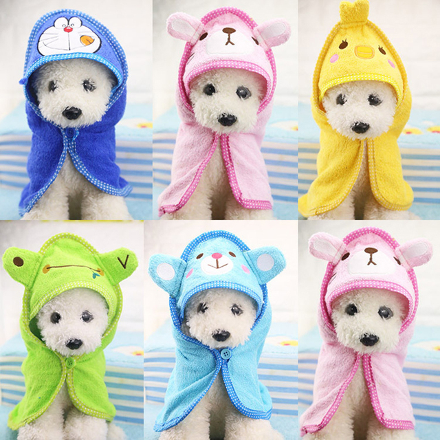 5 Colors Cartoon Cute Dog Bath Towels Blanket Pet Drying Towel Hooded Towel  For Puppy Dogs Cats Bathrobe Pet Bath Products S M L f361f7c6f30d9