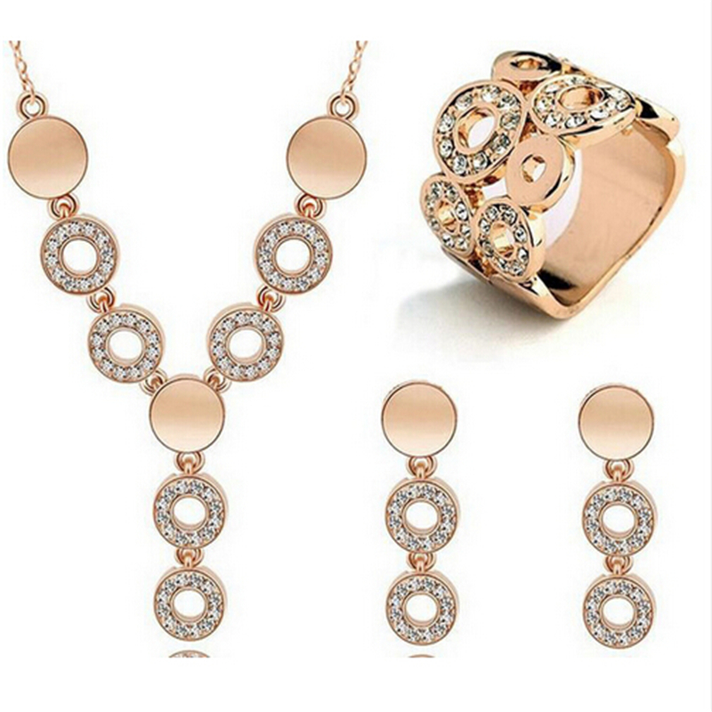 ZOSHI Hot Sale Fashion Women Jewelry Classy Sparking Crystal Necklace Wedding Gold Silver Jewelry Set Woman