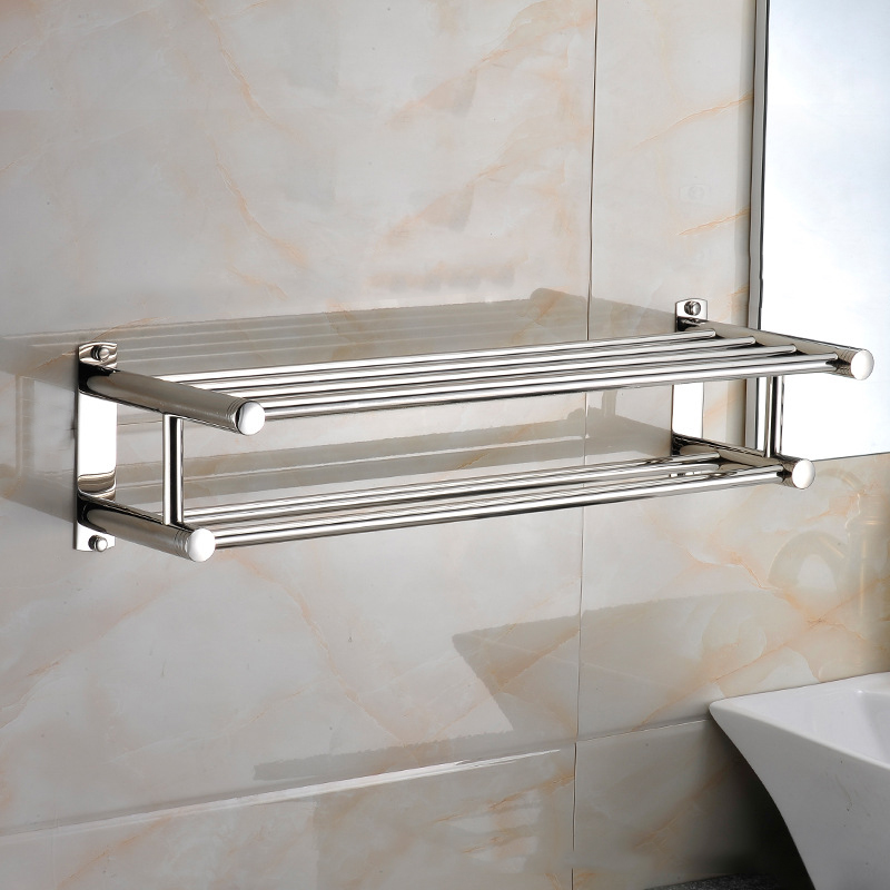 60cm stainless steel double bathroom towel holder storage - Bathroom shelves stainless steel ...