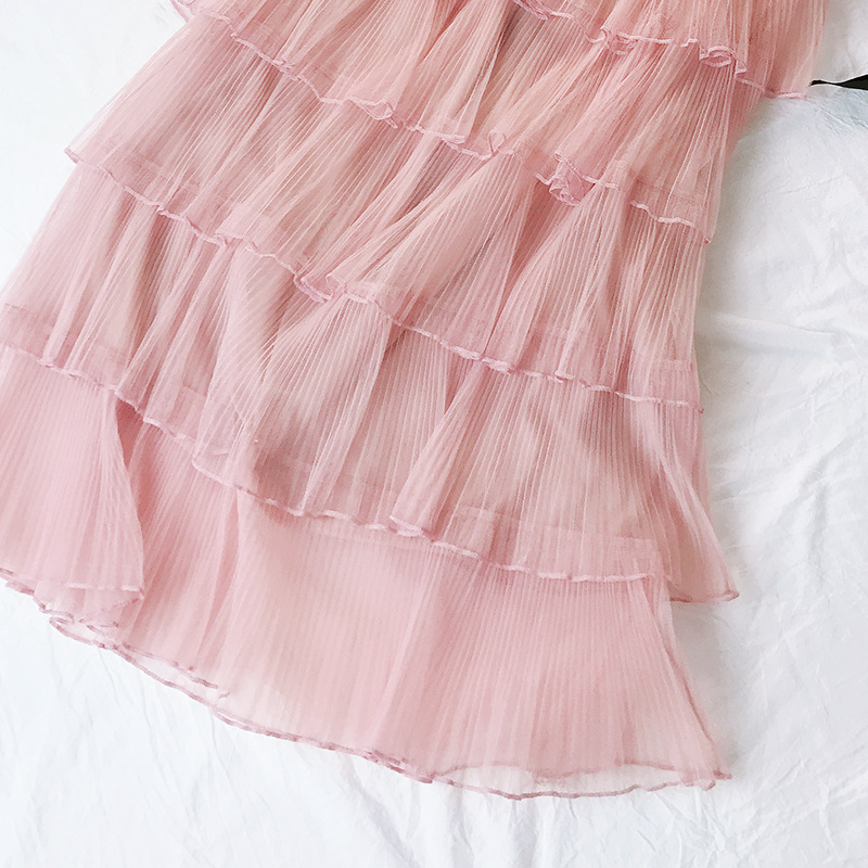 Pleated Satin Skirt 6 Layers High Waist Women Clothing Mesh Party Skirt 2019 New Spring Casual Ankle Length A Line Cake Skirt in Skirts from Women 39 s Clothing