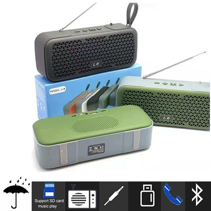Wireless portable bluetooth speaker waterproof External fm antenna 10W Outdoor boombox TF mp3 subwoofer USB sound bar for xiaomi