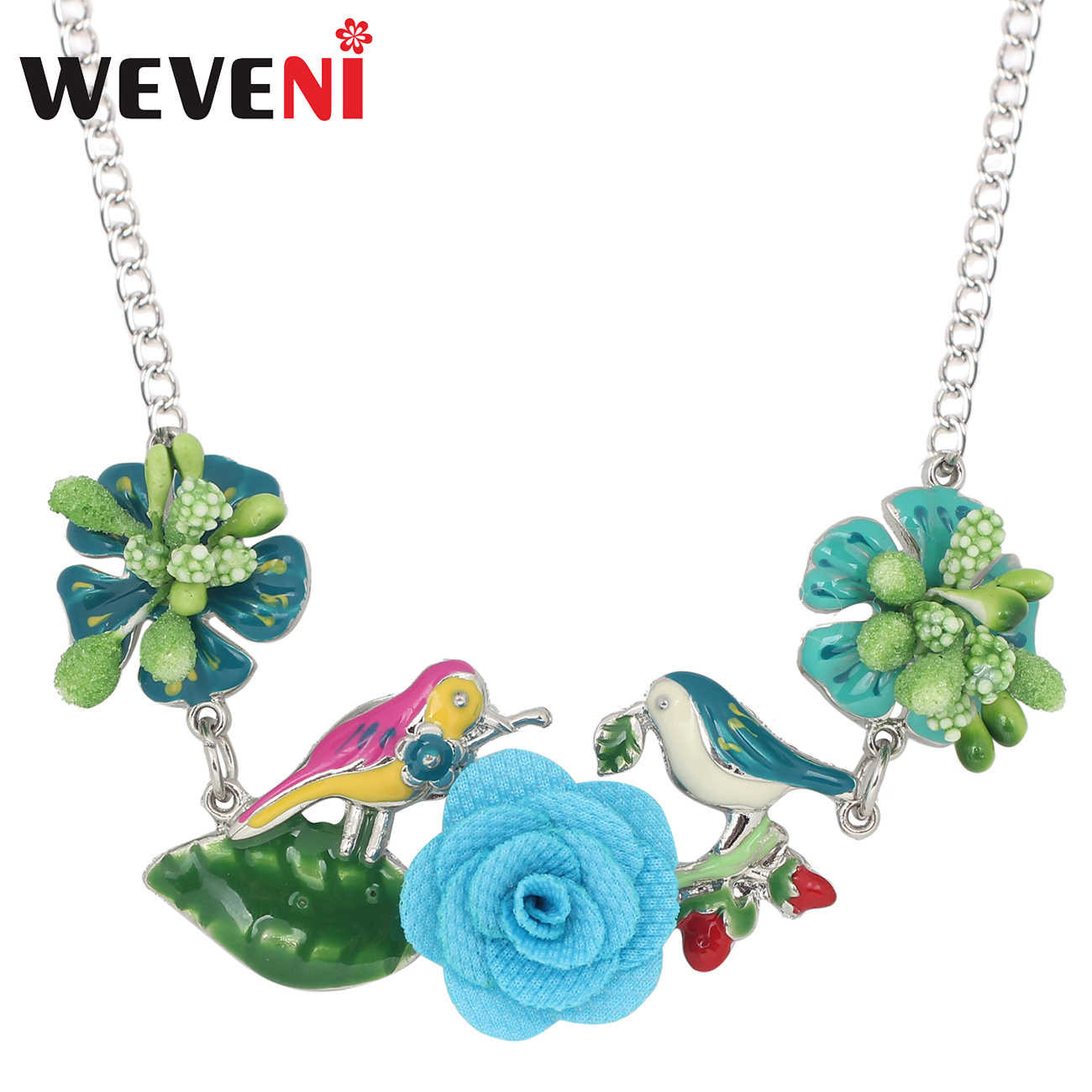 WEVENI Statement Enamel Alloy Flower Bird Leaf Necklace Choker Pendant Long Fashion Jewelry For Women Girls Gift Wholesale Party