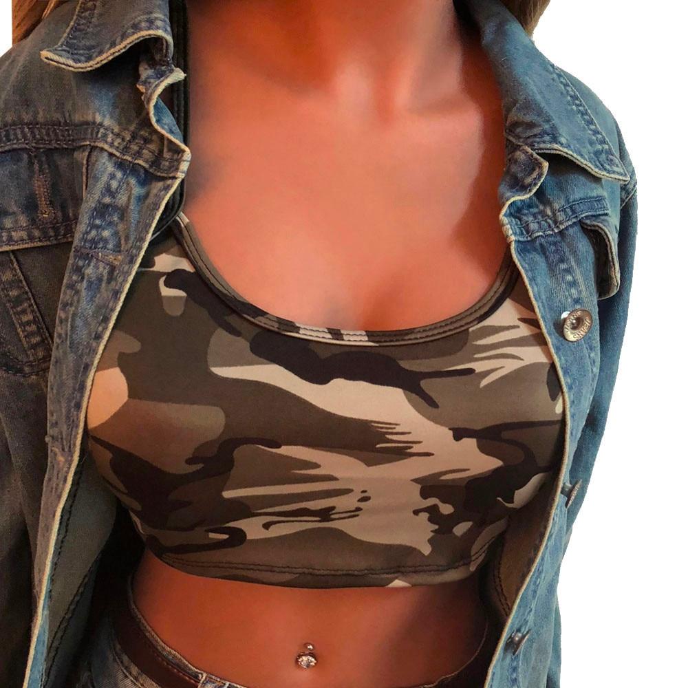 Blue Gray Green Camouflage Short Crop Tops Women 2018 Cami Women Tops Sexy Backless Sleeveless Top Women Summer Vintage Novelty