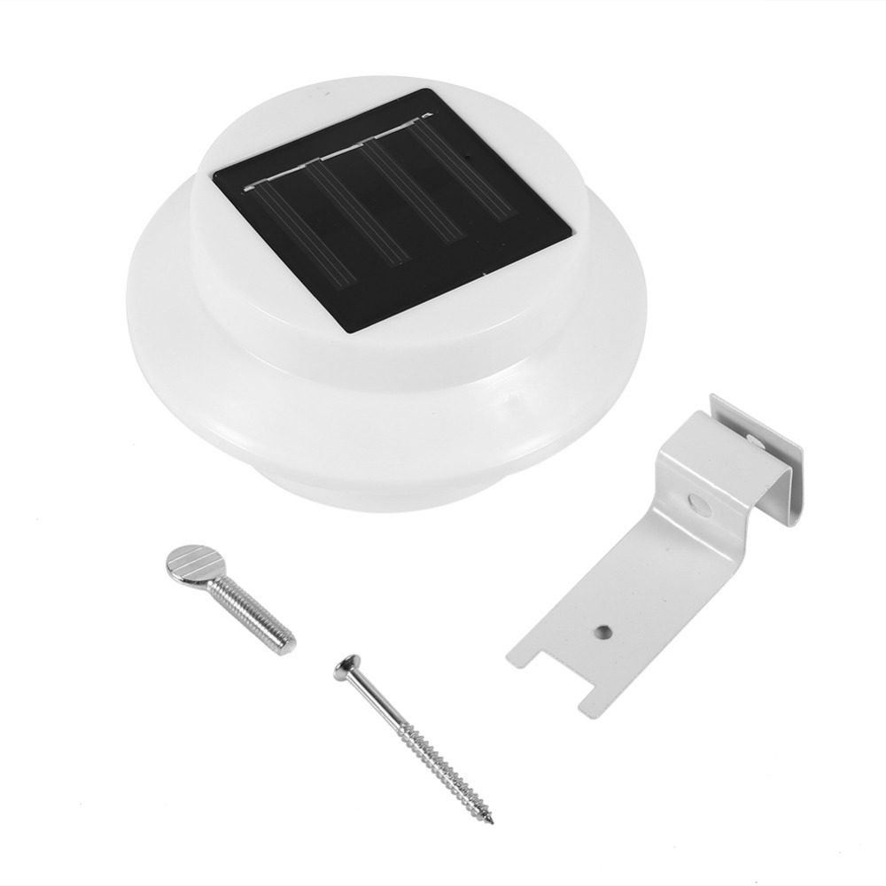 2 Colors Warm Cool Light 3 LED Solar Light Outdoor Wall Mounted Garden Yard Pathway Fence