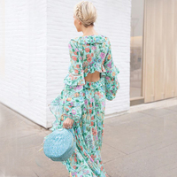 Khale Yose Autumn Maxi Dress Long Sleeve Backless Floral Print Boho Beach Women Dressess Cotton Ruffle Hippie Gypsy Sexy Gown
