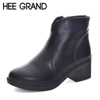 HEE GRAND Ankle Boots Women Sewing Slip On Leisure Shoes Women Thick Heel Autumn Women Worker