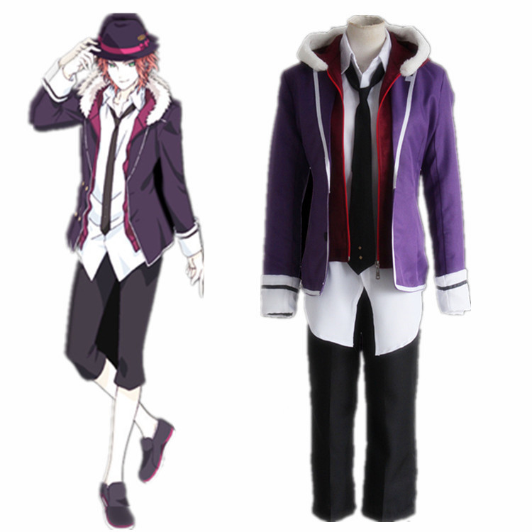 Anime Diabolik Lovers Costume Sakamaki Raito Cosplay School Uniforms Halloween Wear Purple Jacket Men Coat Pants Full Sets