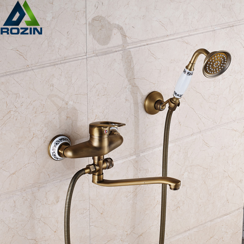 Antique Brass 25cm Outlet Pipe Bath Shower Faucet Wall Mounted Longer Nose Bathtub Mixers with Handshower wall mounted single handle bath shower faucet with ceramic handshower antique brass finish