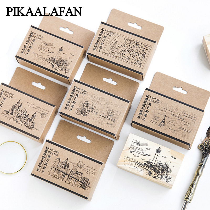 PIKAALAFAN Wooden Stamp Travel Significance Series Log Rubber Wooden  Hand Account Album Diary Decoration DIY Stamp Toy