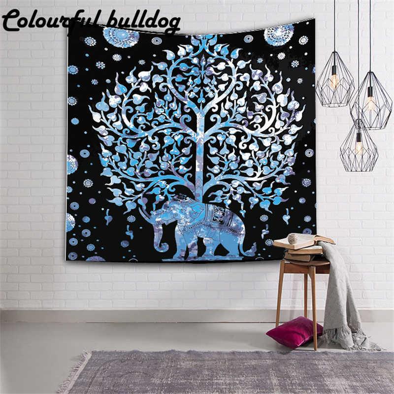 Elefante impreso Toalla de playa decoración de árbol geométrico esteras de Yoga Mandala tapiz tienda de campaña colchón de viaje almohadilla de dormir