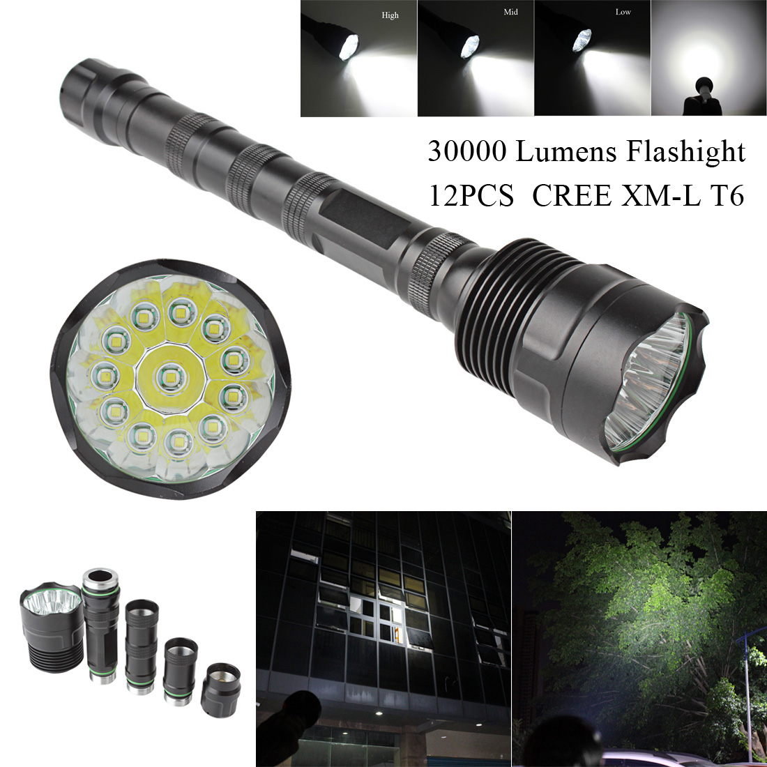 LED Flashlight 30000 Lumens Torch Lamp 5 Modes 8-12 CREE XM-L LED T6 Light for Homehold&Outdoor Camping Lantern Hunting aomway 700tvl hd 1 3 cmos fpv camera pal