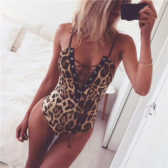 2019 Sexy Women Leopard Lace Up Bodysuit Deep V Neck Camis Overalls Club  Bodycon Body Women Jumpsuit New Brown Female Romper 088929671