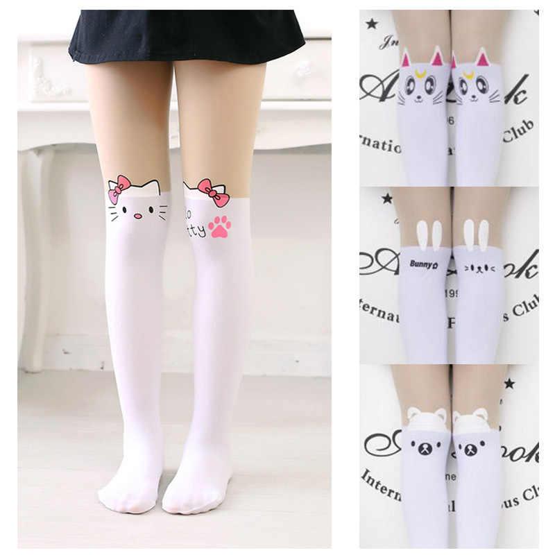 2a939d1ea Children s Kids Girls Cute mickey Pantyhose tight Cartoon hello kitty cat  bunny Tattoo Velvet Stockings for