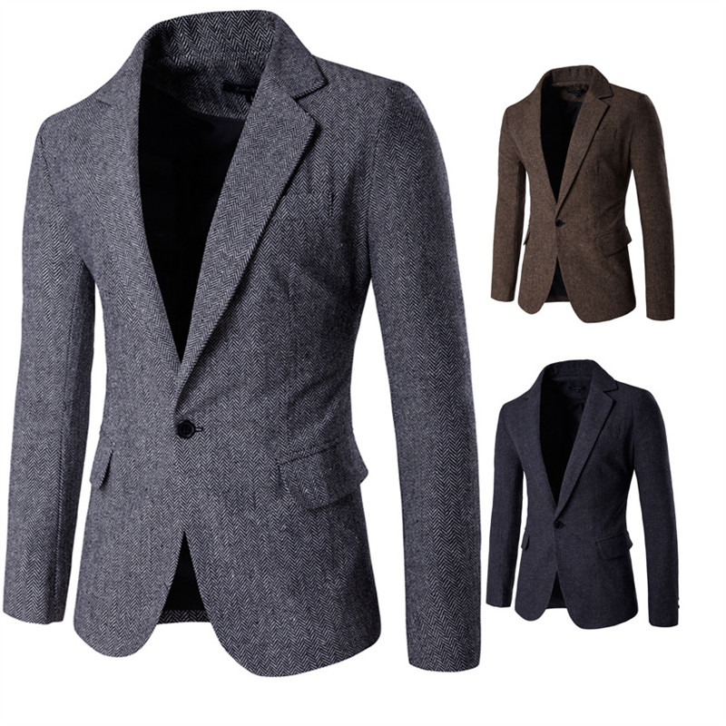 2019 High-quality NEW Men Fashion Brand Blazer British's Style Casual Slim Fit Suit Jacket Male Cloth Fabric Blazers Men Coat