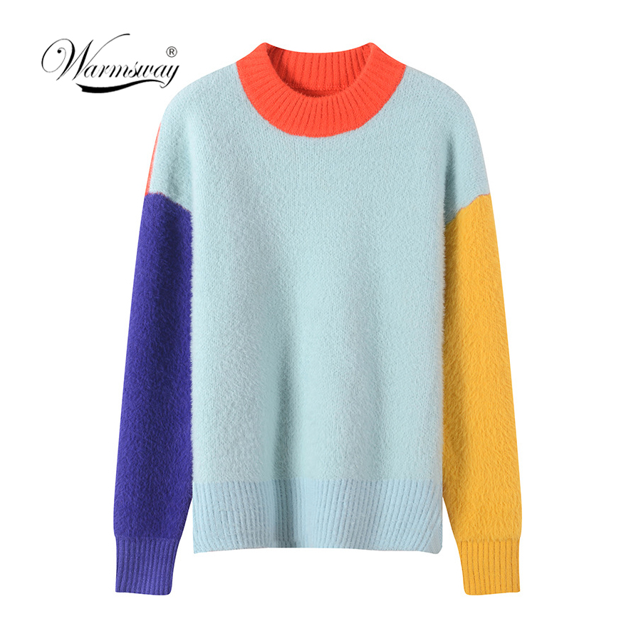 Sweet Color Block imitation mink Sweater 2019 New Autumn Winter Patchwork Jumper Women Long Sleeve Pullovers Knit Tops C 334