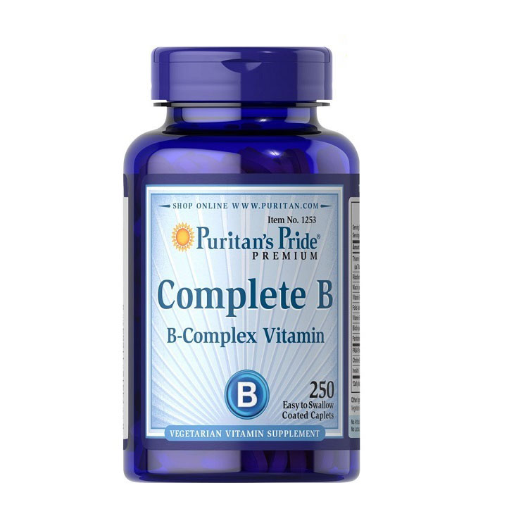Complete B B-Complex Vitamin Easy to swallow 250 caplets Free shipping