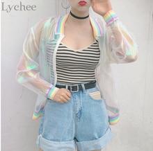 Průhledná duhová retro bunda na zip