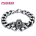 MOZO FASHION Punk Rock Men Skeleton Bracelets Male Personalized Jewelry Stainless Steel Wrench Skull Bracelet Accessories MGS801