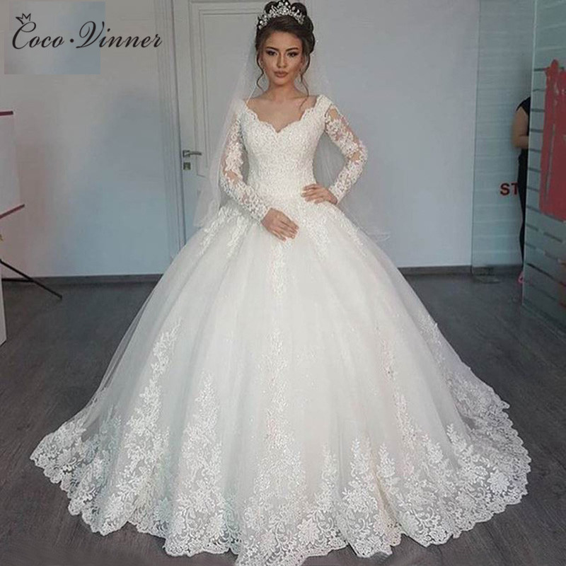 C V Custom Made Wedding Dresses 2019 Puffy Ball Gown Lace Beaded Applique White Long Sleeve
