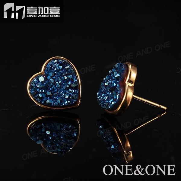 c9594b19a197 Corazón al por mayor 10mm color azul drusy pendiente druzy piedra Pendientes  de broche para las mujeres