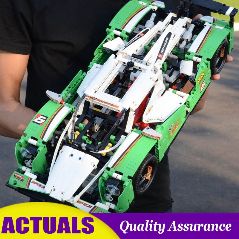 24 Hours Race Car Compatible 42039 Technic Series Building Blocks Green Racer Model DIY Educational Bricks