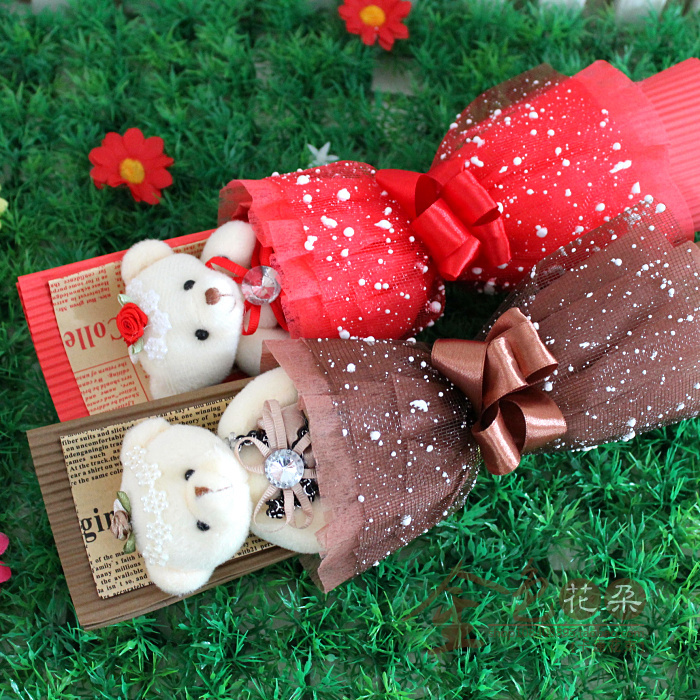 Diamond Bear Flowers Cute Teddy Bear Cartoon Bouquet Dolls Flowers     Diamond Bear Flowers Cute Teddy Bear Cartoon Bouquet Dolls Flowers  Valentine s Day Birthday Girl friend Gift in Stuffed   Plush Animals from  Toys   Hobbies