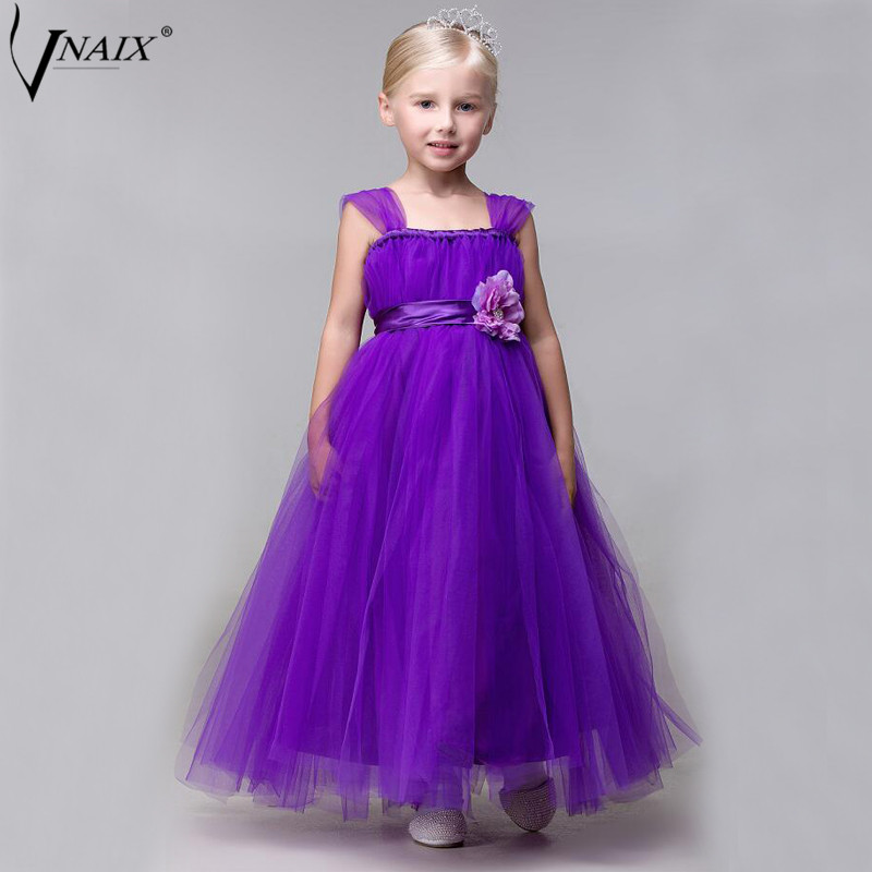 Vnaix DF230 Purple A Line   Flower     Girl     Dresses   First Communion   Dresses   For   Girls   Tulle Kids Prom Gowns