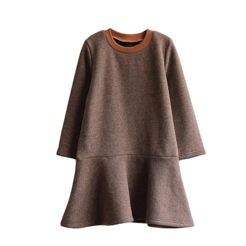 Новинка 2019 года, весенняя одежда платья с длинными рукавами для девочек подростков повседневное теплое зимнее платье в школьном стиле для девочек 4 14 лет