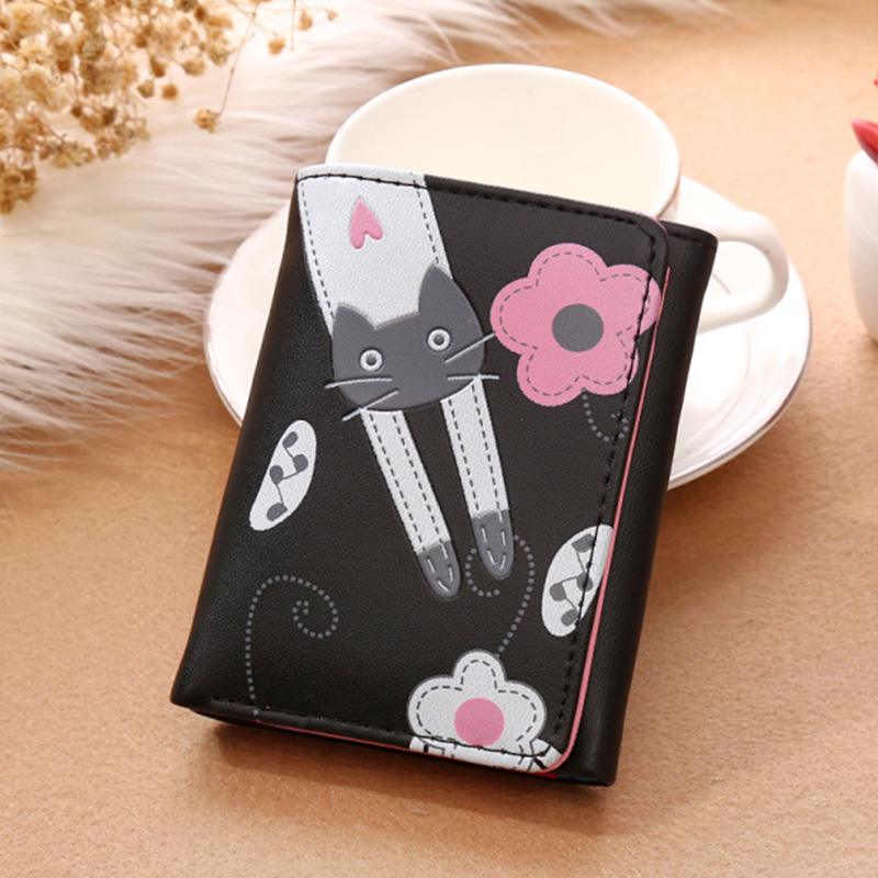 RU&BR Cute Cat Design Women Wallets Hasp Flower Purse 6 Color Short Card Holder Wallet Simple PU Leather Ladies Money Bag new design hasp wallets cute pokemon go wallet pocket monster purses pikachu wallets cartoon children best present wallets