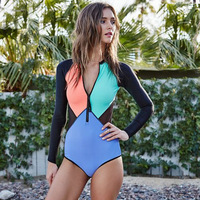Bikinis 2018 Mujer Zipper Long Sleeve Push Up Bikini Women Swimwear Print Swimsuit Beachwear Mixed Color