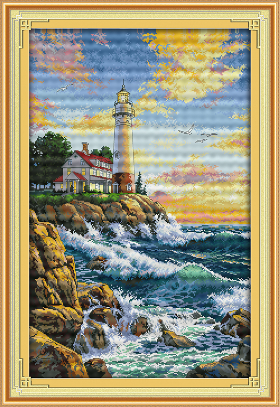 The Seaside Lighthouse(1), Counted Printed On Fabric DMC 14CT 11CT Cross Stitch Kits,embroidery Needlework Sets Home Decor
