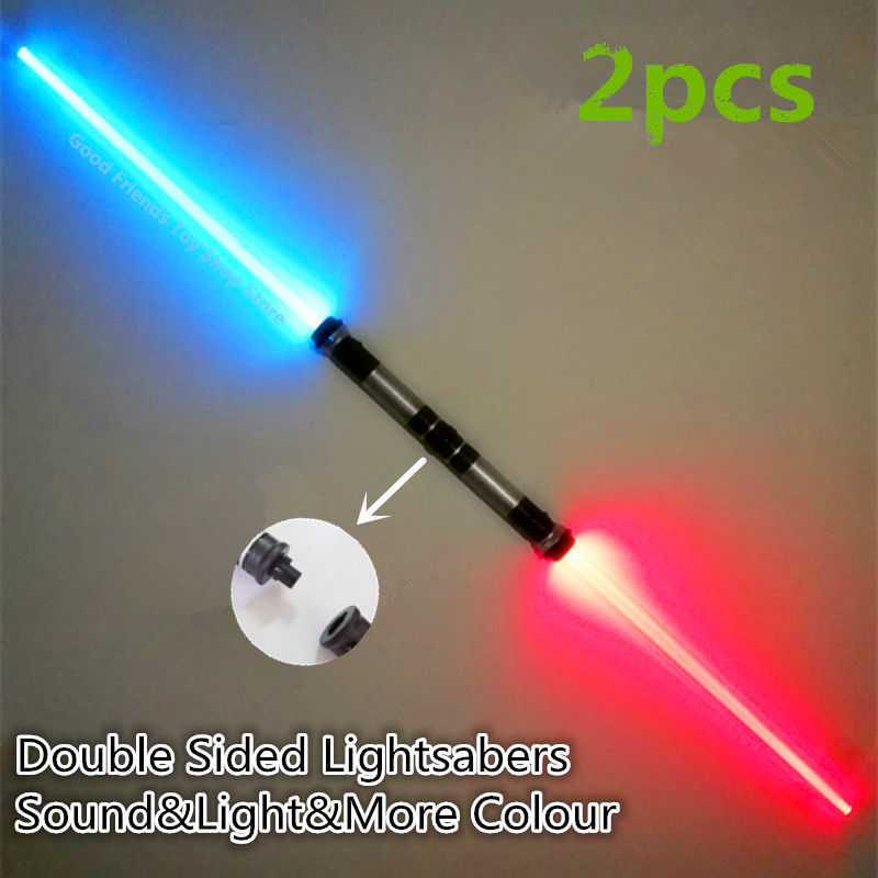 2PCS Lightsaber Boy Gril Toys Flashing Sword Cosplay Funny Star Wars Laser Sword Luminous Music Children's Outdoor Creative Gift 2pcs cosplay star wars lightsaber sound telescopic led flashing light sword toys weapons sabers pvc action figure toy gifts boys