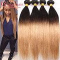 Ombre Brazilian Virgin Hair 4 Bundles Ombre Straight Brazilian Hair Weave Bundles Two Tone Human Hair Weave Blonde 1B/27 Tissage