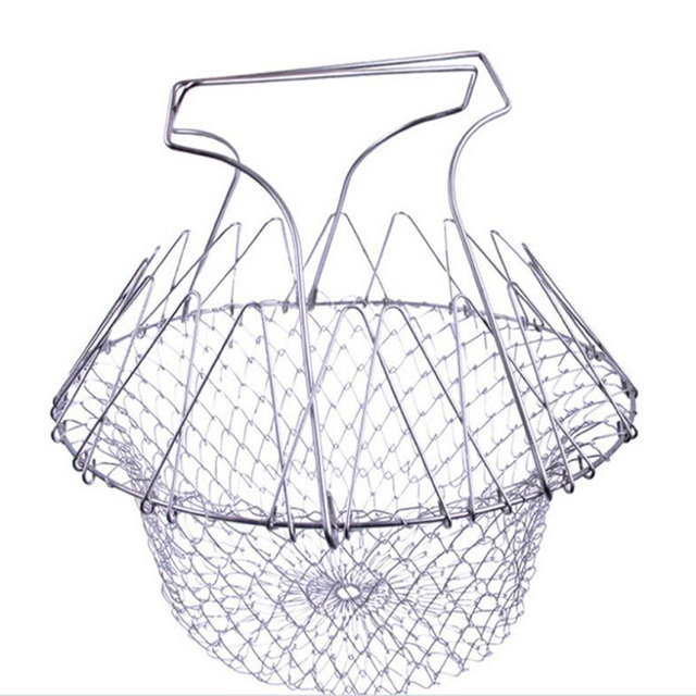 Foldable Steam Rinse Strain Stainless steel folding frying basket colander sieve Mesh Strainer Kitchen Cooking Tools Accessories 1