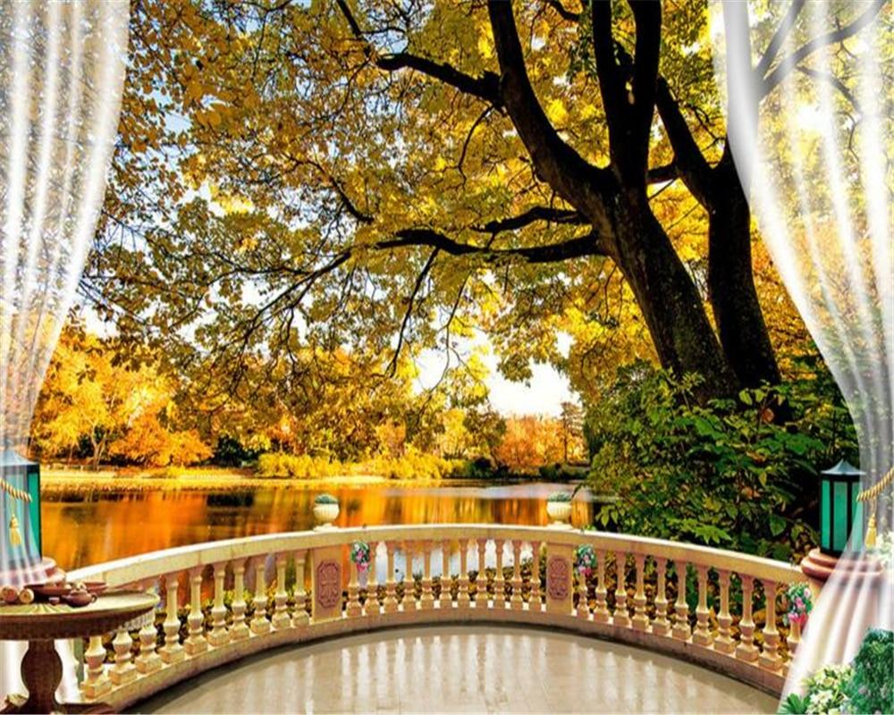 Beibehang Tree Shade Fall Foliage Balcony Background Home