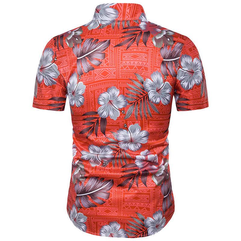 Модные Цветочный гавайская рубашка Для мужчин 2018 летние шорты рукавом платье рубашка Для мужчин S Причинно Марка призвание Пляжные рубашки Camisa hawaiana