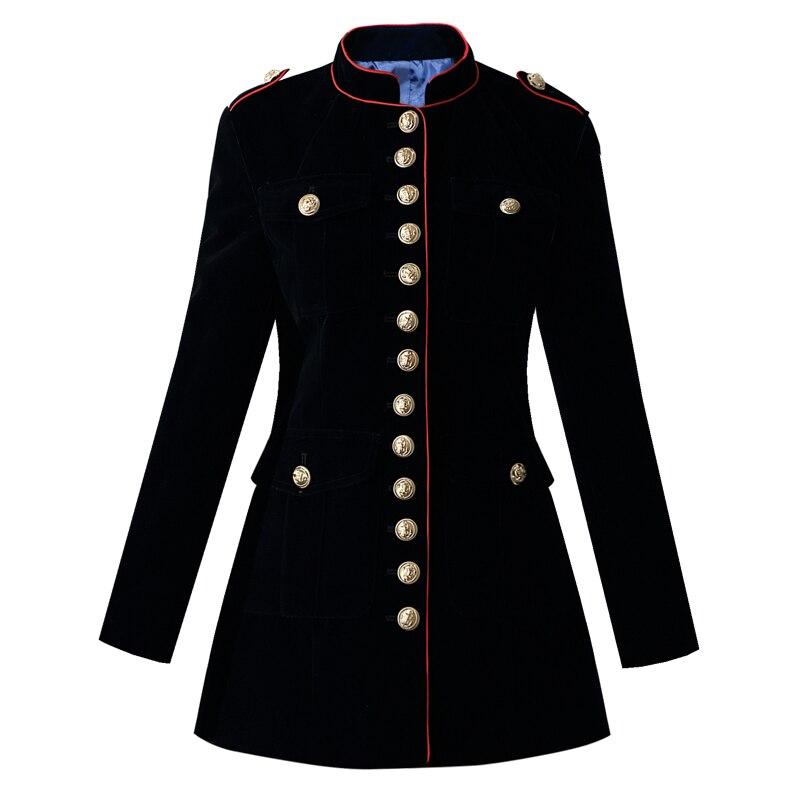 5d1437fecc9fe navy blue velvet military jacket autumn winter women's fashion ...