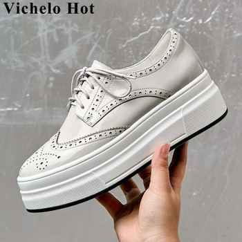 Vichelo Hot natural leather high bottom platform lace up sneakers Brogue shoes breathable round toe dating vulcanized shoes L10