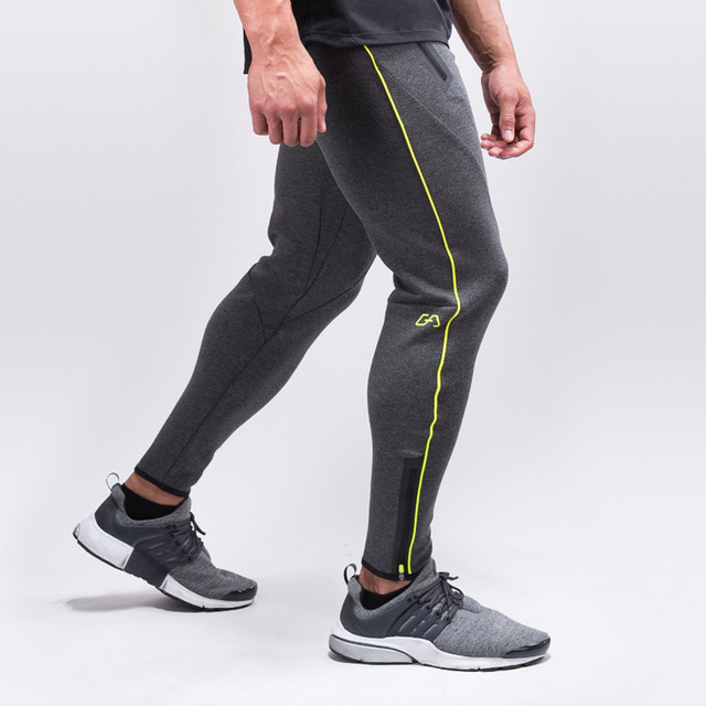 2017 Navy Muscle trousers men joggers pants cotton tight stitching Bodybuilding Slim Wei fashion pants casual pants
