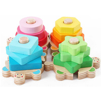 Baby Toys 3 Year Old Baby Wooden Stacked Layers Montessori Toy Building Blocks For Children Early