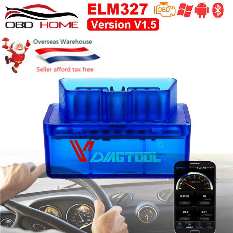 OBD2 Xe Ô Tô Mini Elm327 Bluetooth OBD2 V1.5 ELM 327 V1.5 OBD 2 Chẩn Đoán-Dụng Cụ Máy Quét Tự Động Mã đầu Đọc