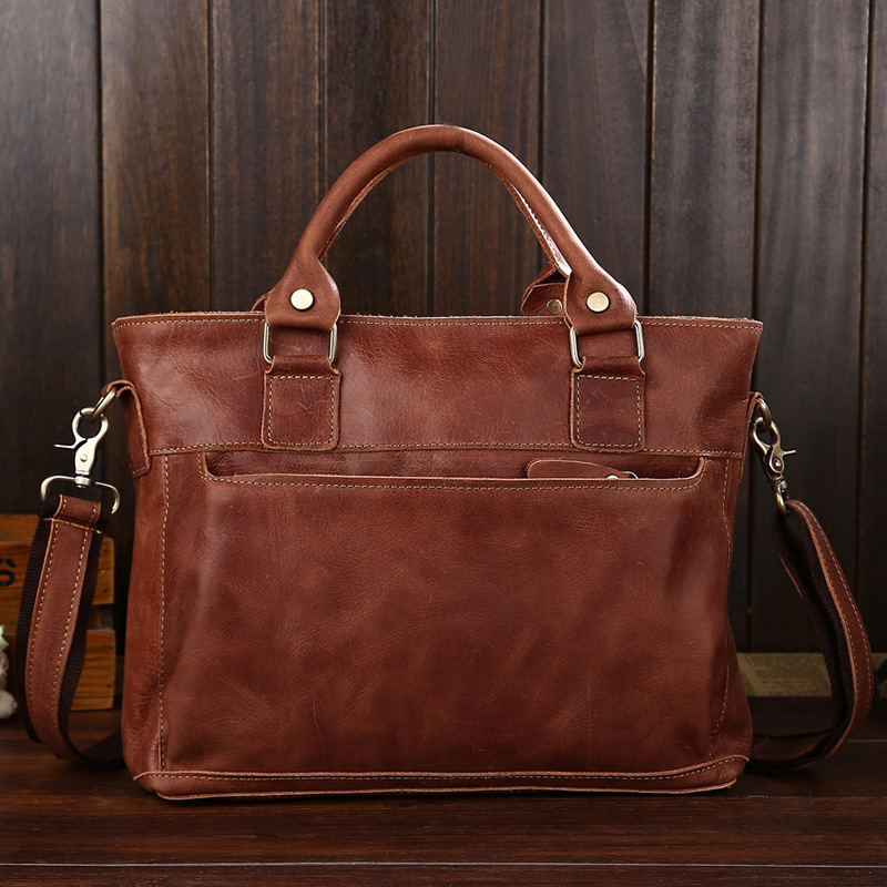 ФОТО Men's bags leather shoulder bags leisure portable oil wax postman dispatch baotou layer leather laptop bag