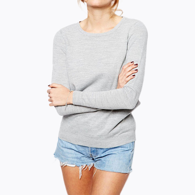 Cut out back sexy knit tops women grey tie back long sleeve knit tops sky blue ladies ov ...
