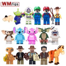 Stitch Indiana Jones Gun Toy Story 4 Woody Trump E.T. Lost Boys Building Block Cartoon Girl Toys for Children Gift Juguetes Pigs(China)