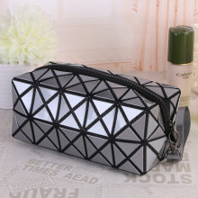 2018 New Fashion Geometric Zipper Cosmetic Bag Women Laser Flash Diamond Leather Makeup Bag Ladies Cosmetics Organizer(China)